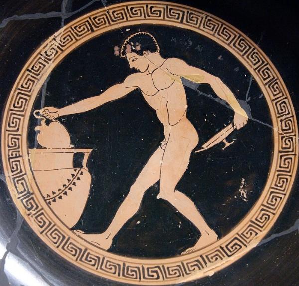FIGURA 1.Un joven griego sacando vino de un contenedor. Cerámica griega de los años 490 - 480 antes de Cristo.