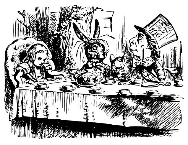 Alicia no termina de salir de su confusión, en el país de las maravillas tiempo y tamaños parecen juegos extraños. Ilustración de John Tenniel original del libro de Lewis Carroll.