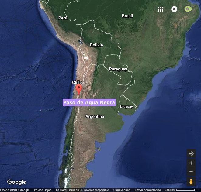 Ubicación del Paso de Agua negra. Elaboración propia con Google Maps.