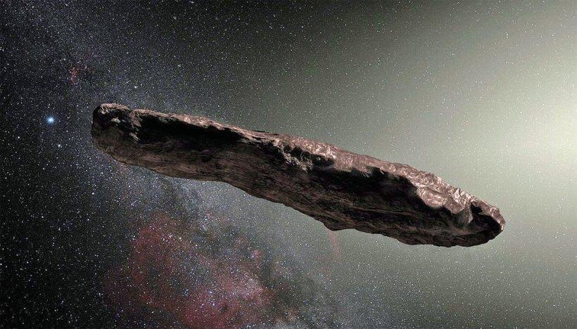 Oumuamua, representación artística, crédito de la imagen: Observatorio Europeo del Sur.