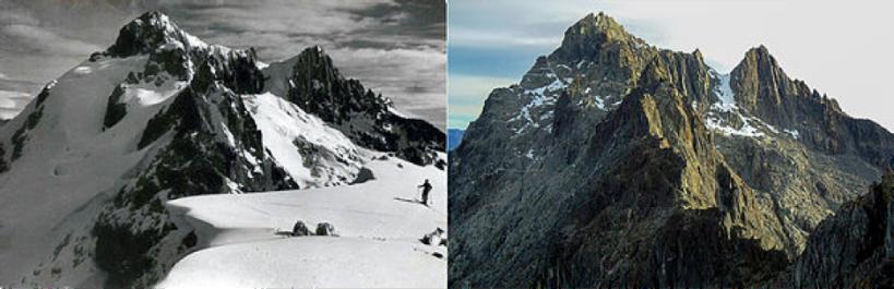 Pico Bolívar, el más alto de Venezuela, en 1950 y 2011.
