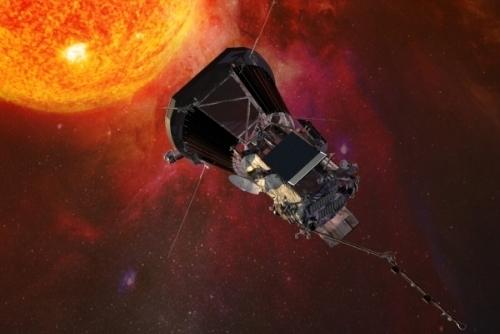 Sonda Solar Parker acercandose al Sol.Composición artística. Crédito de la imagen: Universidad de Johns Hopkins.