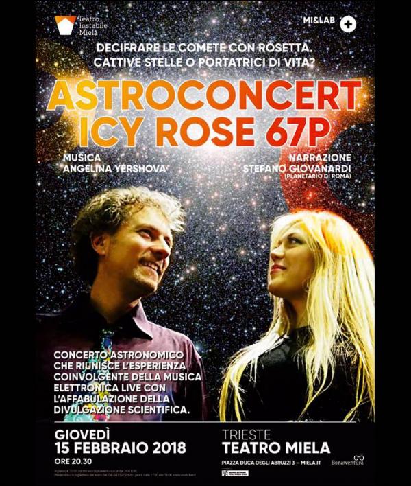 Poster del anuncio del AStroconcert Rosa helada 67P.