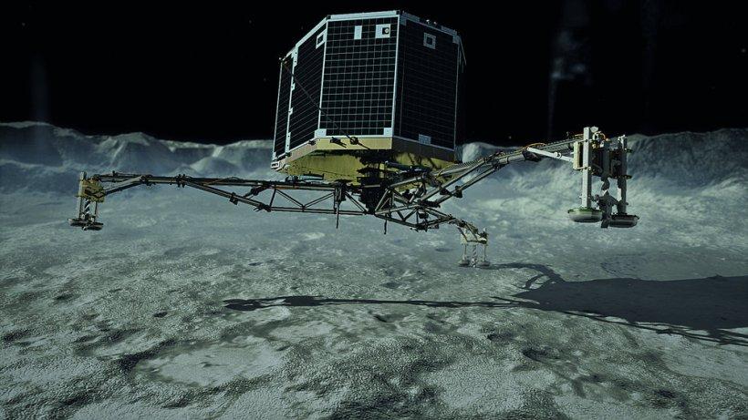 Acometizaje del módulo Philae, concepto artístico. Crédito de la imagen: Agencia Espacial Alemana.