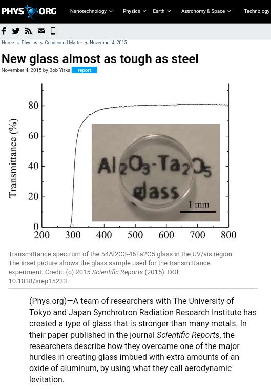 Noticia del descubrimiento de vidrios superfuertes recogida por el blog Phys.org.